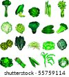 Vector Illustration of 20 green vegetable icons. - stock vector