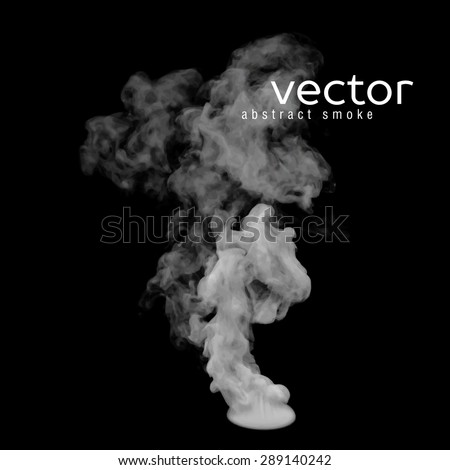 Vector illustration of grey smoke on black. Use it as an element of background in your design. - stock vector