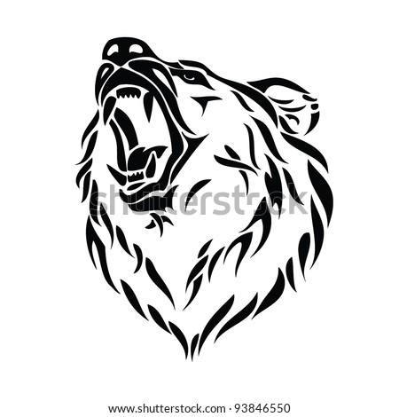 vector illustration of grizzly bear head - stock vector