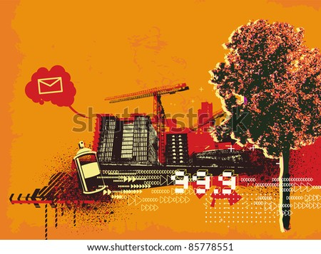 Vector illustration of grunge abstract urban background - stock vector