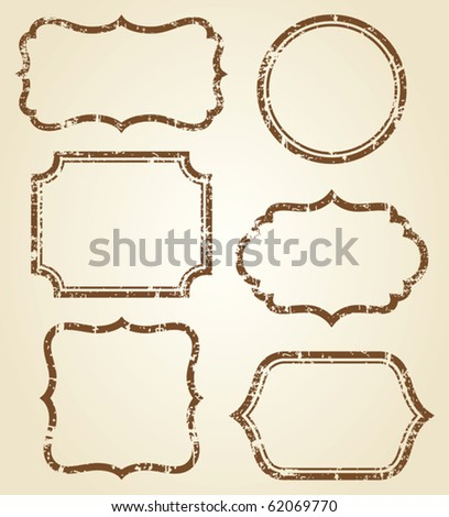 Vector illustration of grunge frames. - stock vector