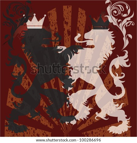 vector illustration of grunge lions - stock vector