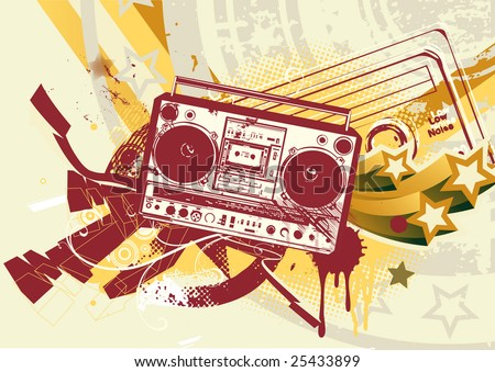 Vector illustration of Grunge styled urban background in graffiti style with cool Boom box. - stock vector
