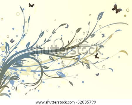Vector illustration of grunge swirling flourishes decorative Floral Background