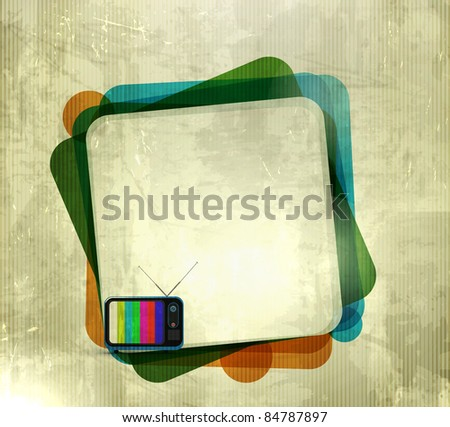 vector illustration of grunge texture background with tv banner - stock vector