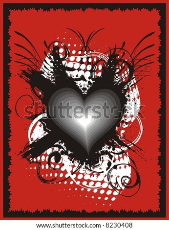 Vector illustration of grungy heart.
