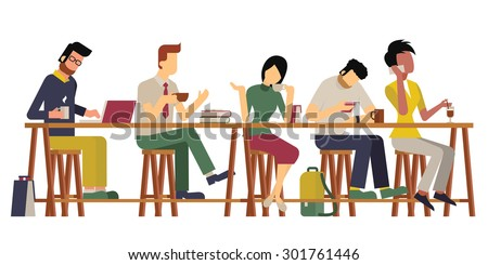 Vector illustration of guests, man and woman,  enjoy coffee at wooden bar. Diverse and milti-ethnic character, flat design, vintage style.  - stock vector