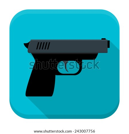 Vector illustration of gun. Flat app square icon with long shadow. - stock vector