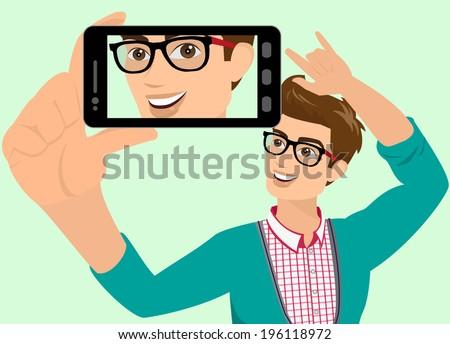 Vector illustration of guy taking a self snapshot. - stock vector