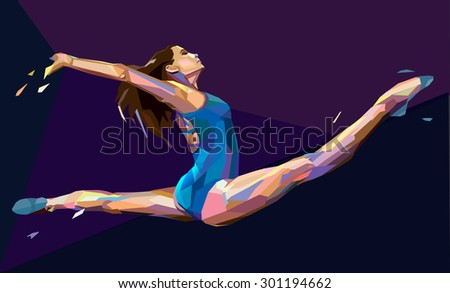 Vector illustration of gymnast girl jumping on abstract background - stock vector