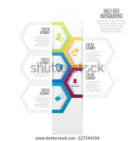 Vector illustration of half hex infographic design element. - stock vector