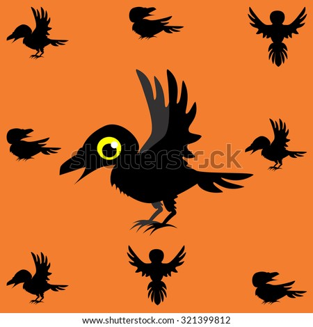 Vector illustration of Halloween black crow - stock vector