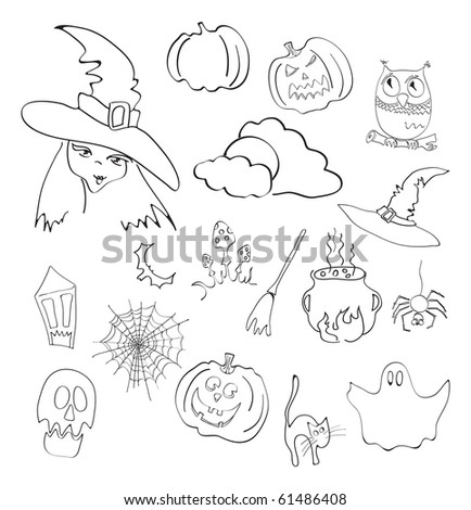 Vector illustration of halloween elements - stock vector