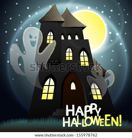 Vector illustration of halloween ghosts in an old house - stock vector