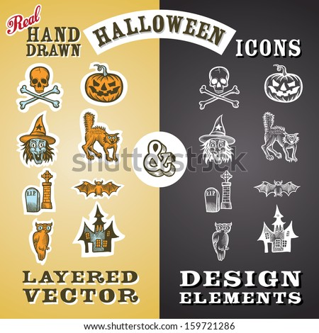 Vector illustration of Halloween icons and design elements. Easy-edit layered vector EPS10 file scalable to any size without quality loss. High resolution raster JPG file is included.  - stock vector
