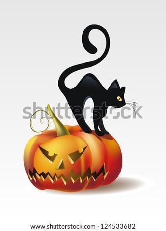 Vector Illustration of Halloween Pumpkin with Black Cat - stock vector