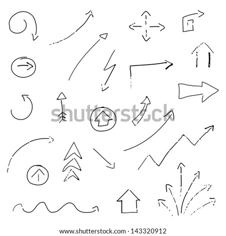 Vector Illustration of Hand-drawn Arrows - stock vector