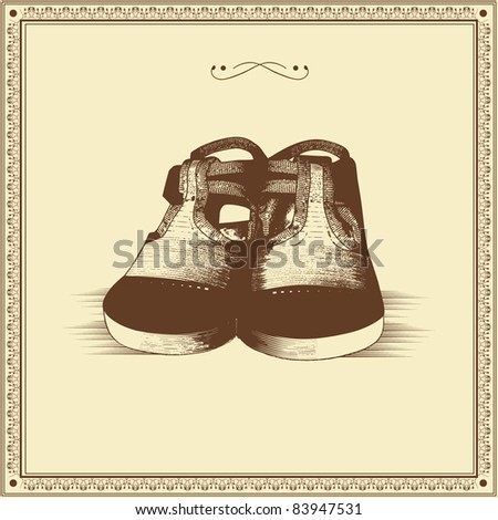 vector illustration of hand drawn baby shoes with vintage frame - stock vector