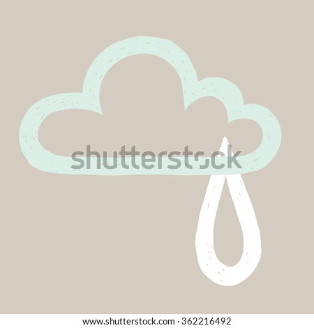 vector illustration of hand drawn cloud and raindrop contour on gray  background - stock vector