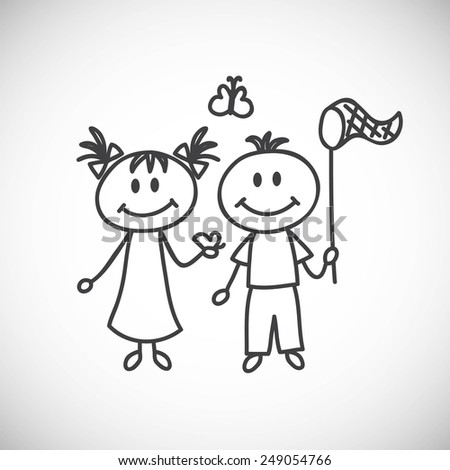 Vector illustration of hand-drawn couple. Spring.