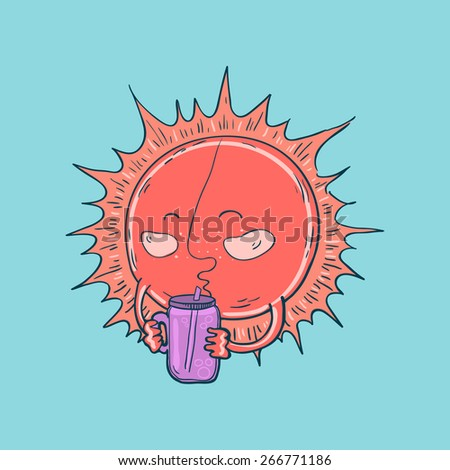 Vector illustration of hand-drawn cute cartoon sun drinking a smoothie - stock vector