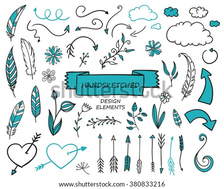 Vector Illustration of Hand Drawn Design Elements