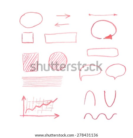 Vector illustration of hand drawn graphic elements made with red pencil for your design - stock vector