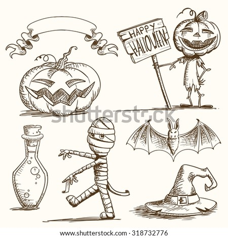 Vector Illustration of Hand Drawn Halloween Elements