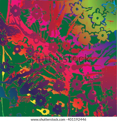 Vector illustration of hand drawn ink distressed grunge floral pattern. Colorful flower pattern, backdrop, background. Red, pink, green, yellow. - stock vector