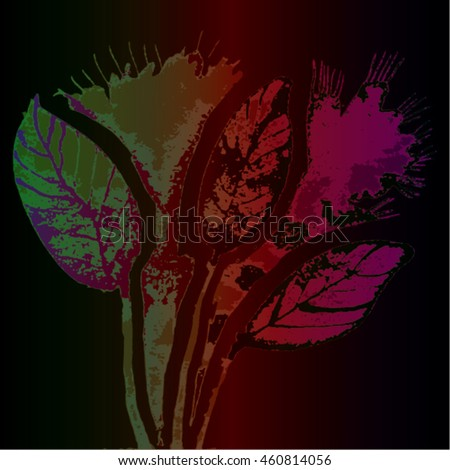 Vector illustration of hand drawn ink distressed grunge floral romantic pattern. Abstract painted leaves, flowers backdrop, background. Transparent  pink, red, green flower on dark brown background.