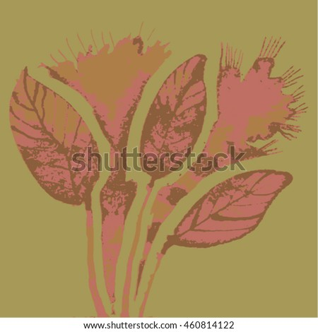 Vector illustration of hand drawn ink distressed grunge floral romantic pattern. Abstract painted leaves, plants, flowers backdrop, background. Transparent pink flowers on green background.