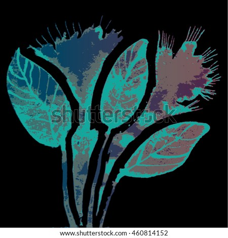 Vector illustration of hand drawn ink distressed grunge floral romantic pattern. Abstract painted leaves, plants, flowers backdrop, background. Transparent turquoise, blue flower on black background. - stock vector