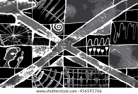 Vector illustration of hand drawn ink distressed grunge pattern. Abstract painted backdrop, background. Cross, alien, spiral, space, universe, spaceship display. Black, white, grey.