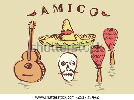 Vector illustration of hand drawn Mexican objects set, sombrero, sugar skull, guitar and maracas  - stock vector