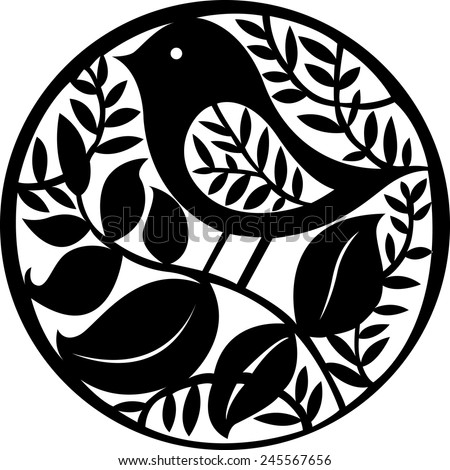 Vector illustration of hand drawn paper cut silhouette with bird. - stock vector