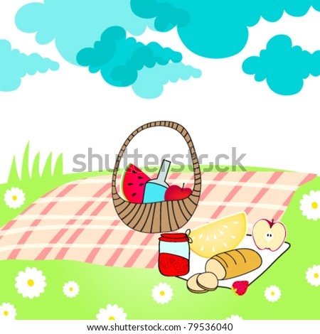 Vector illustration of hand drawn style, cute summer picnic basket on meadow - stock vector