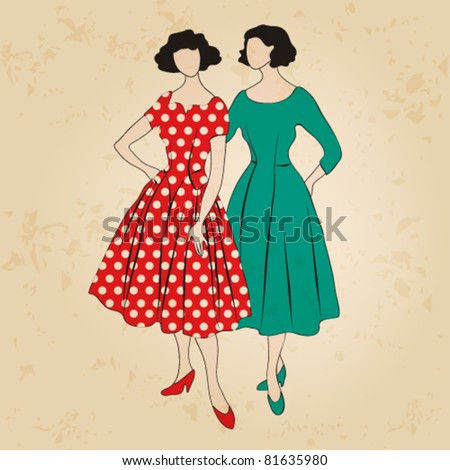 Vector illustration of hand drawn style elegant vintage fashion ladies - stock vector