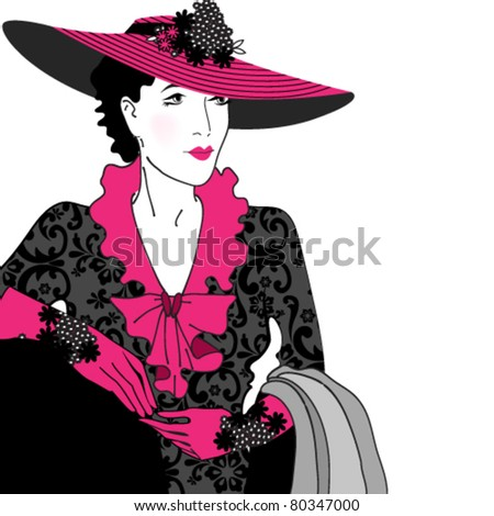 Vector illustration of hand drawn style elegant vintage fashion lady - stock vector