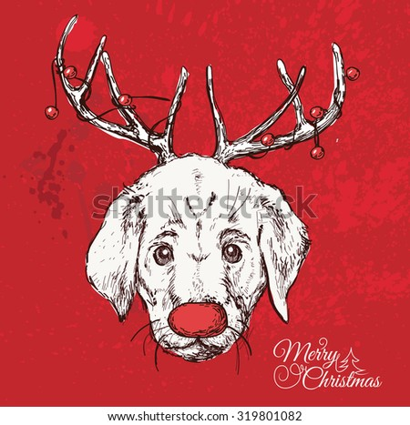 Vector illustration of hand drawn vector of  hand-drawn dog with horns and  Christmas label on red background - stock vector