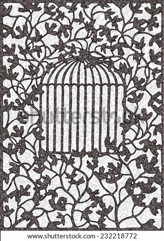 Vector illustration of hand drawn vine with leaves pattern, climbing plant silhouette with bird cage in center. - stock vector