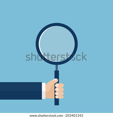 Vector illustration of hand holding a magnifying glass. Flat design - stock vector