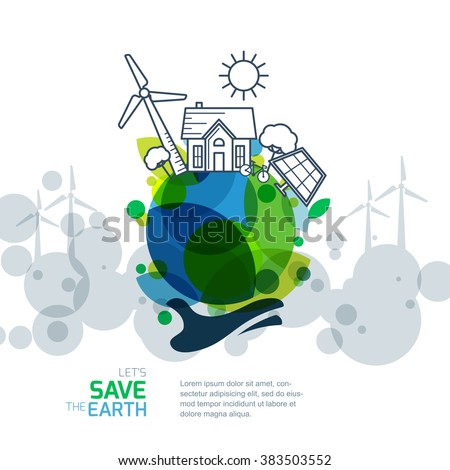 Vector illustration of hand holding earth with wind turbine, house, solar battery, bicycle and trees. Background for save earth day. Environmental, ecology, nature protection and pollution concept. - stock vector