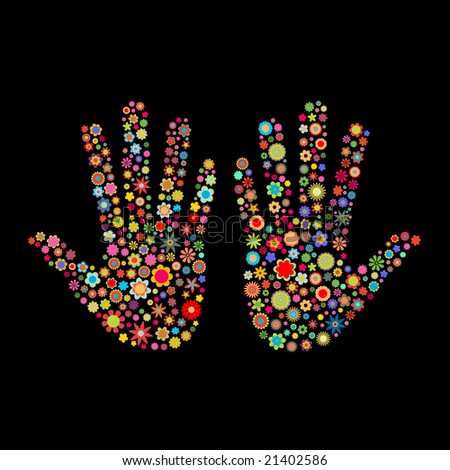 Vector illustration of hand track shape  made up a lot of  multicolored small flowers on the black background - stock vector
