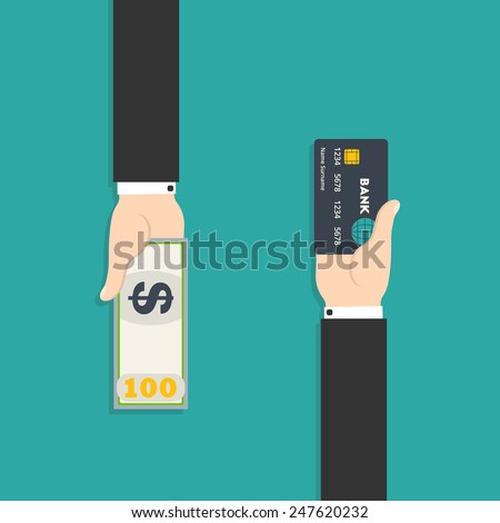 Vector illustration of hand with credit card and cash for your design - stock vector