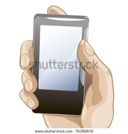 vector illustration of hand with mobile phone - stock vector