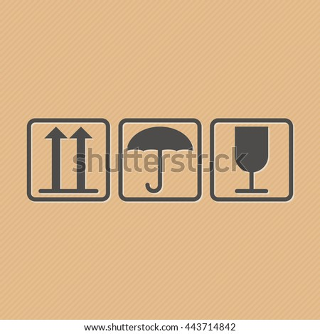 Vector illustration of handling and packing icons for carton box isolated on cardboard brown background. Illustration of cargo symbols. Fragile or packaging symbols. - stock vector