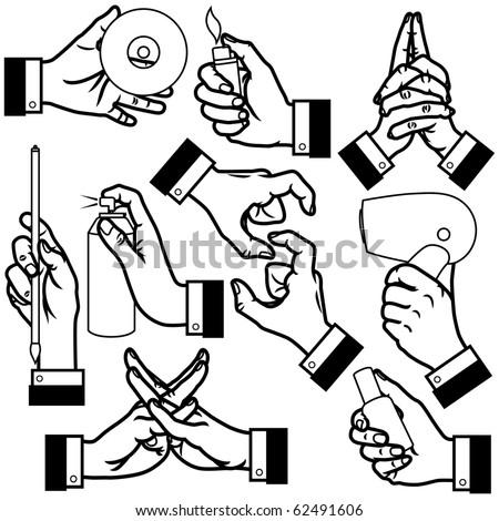 vector illustration of hands. - stock vector
