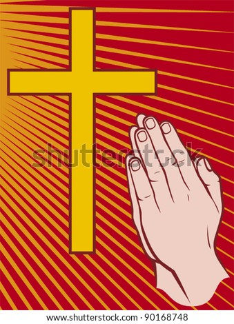 vector illustration of hands folded in prayer