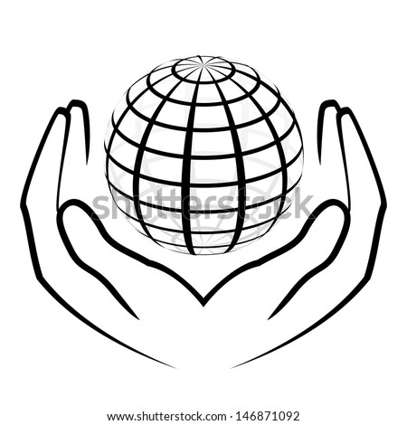 Vector illustration of hands holding a globe - stock vector