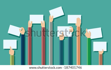 Vector illustration of hands holding blank piece of paper for messages  - stock vector